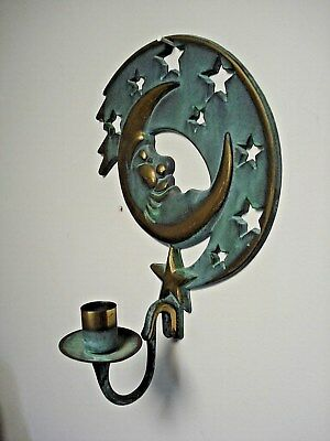 Partylite Metal moon & stars Wall Mount Candle Holder green & brass tone 1994