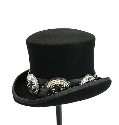 Conch Wool Felt Top Hat Steampunk Topper Victorian Mad Hatter Slash Leather Band
