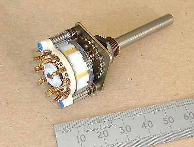 ELMA High Specification 6 pole 2 position (= 6 x SPDT) ROTARY SWITCH, 6 mm shaft