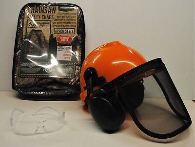 CAMOUFLAGE CAMO camo  SAFETY CHAPS  HARD HAT EAR MUFFS GLASSES  3-Piece Combo