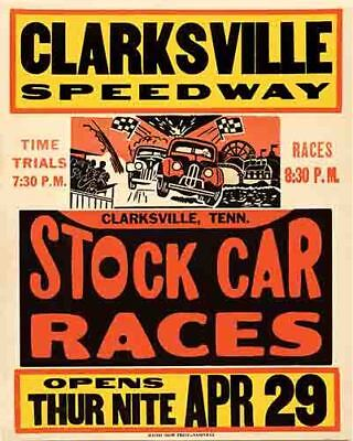 Vintage Antique  Auto Races Racing 1950's style    POSTER  Clarksville Tennessee