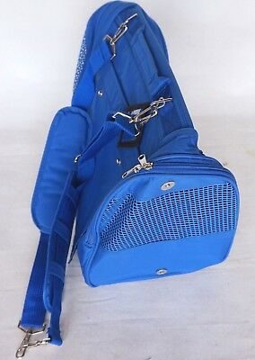 """Collapsible BLUE Nylon Zip Up Small Dog/Cat Carrier 17""""x13""""x9.5"""" w/ Windows"""