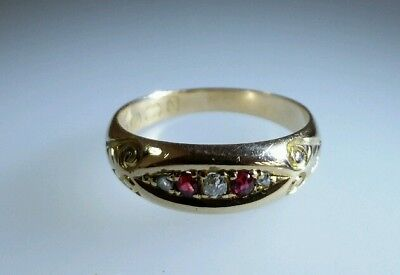 A Victorian 18ct Gold Dress Ring. Set with Rubies & Diamonds . Birmingham 1892