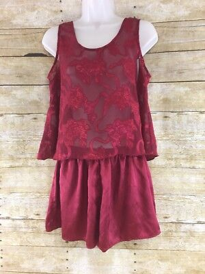 Vtg Victorias Secret Womens Small Red Sheer Floral Shorts & Camisole Pajama Set