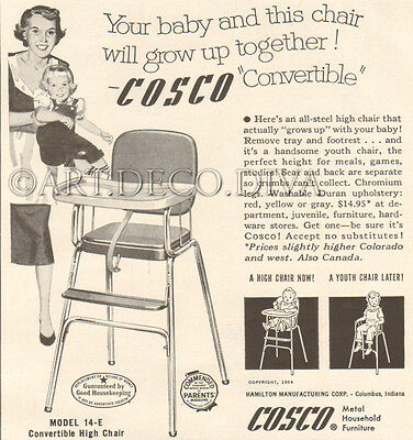VTG 1950's COSCO High Chair Baby Furniture MOTHER Convertible Retro Home Ad