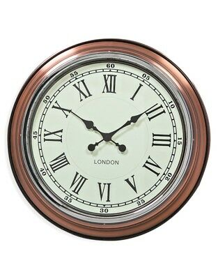 """Large 'London' Wall Clock Vintage Copper With White Face 50cm (19.75"""") Diameter"""