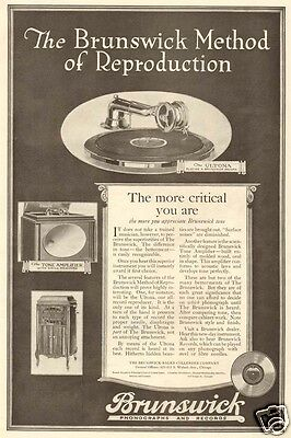 1920 antique BRUNSWICK Phonograph Record ULTONA Method of Reproduction MUSIC Ad