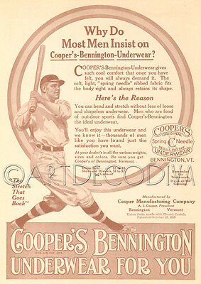Antique 1910's Cooper's Bennington Underwear BASEBALL Player Bat Game SPORTS Ad