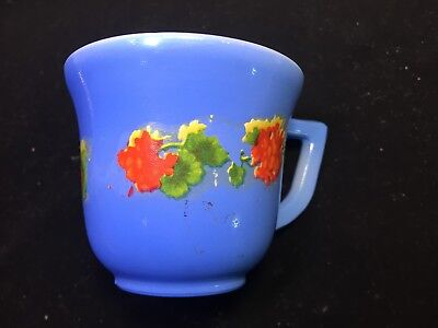 "VINTAGE child's Modertone cup, blue with white inside, decal,  2 1/8"" tall,"