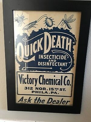 QUICK DEATH Insecticide VINTAGE Original Framed Cardboard SIGN Early 1900s