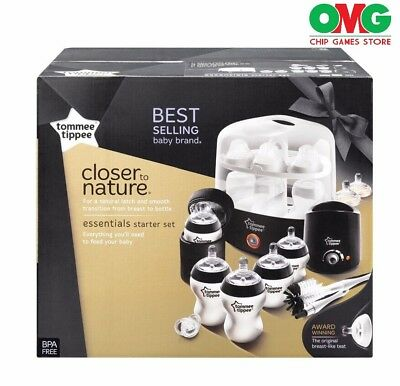NEW - Tommee Tippee Closer To Nature Essentials Kit White/Black - Free Shipping