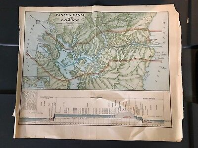 vintage Panama Canal and Canal Zone map 1913 book LL Poates Engineer