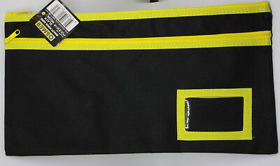 Osmer Pencil Case Black 350 x 180 mm 2 yellow zips with name insert LOT 7