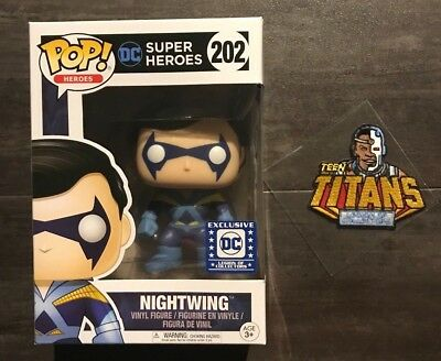 Funko POP! DC Super Heroes #202 Nightwing Legion of Collectors Exclusive & Patch