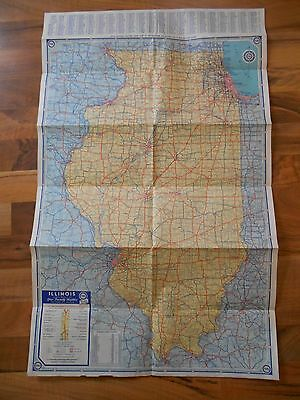 Old Vintage 1960 Illinois Map Pure Oil Home Decor Wall Decoration Rand McNally
