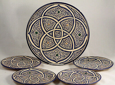 Moroccan Style Ceramic Platter/4 Layer Plates Signed Handmade/Painted Tunisia