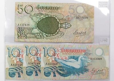 50 Rupees Sea Turtle & 3 of 10 Rupees 1983 Seychelles World Currency LOT 17970F