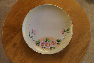 Old Vintage or Antique Hand Painted Nippon Salad? Plate Yellow Back Pink Flowers