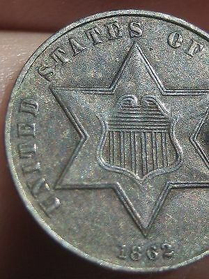 1862 Three 3 Cent Silver Coin- XF/AU Details- Rare Key Date
