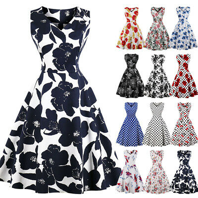 AU Womens Plus Size 50s 60s Vintage Floral Rockabilly Cocktail Party Swing Dress