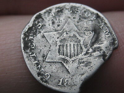 1851-1853 Three 3 Cent Silver Trime, Type 1, Missing Chunk of Planchet