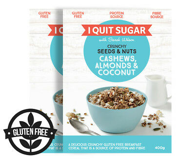 2 x I Quit Sugar Crunchy Seeds & Nuts Cereal w/ Cashews, Almonds & Coconut 400g