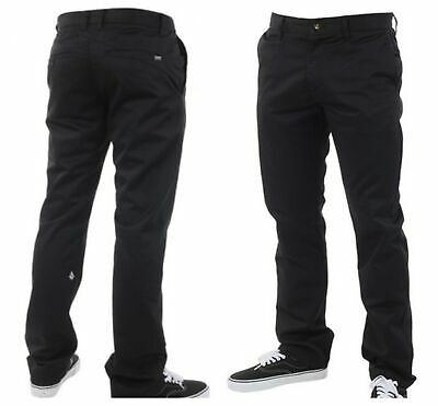 New Volcom Mens Smart Casual Straight Chino Pants  -Black -Size 30, 32, 34, 36