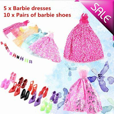 5Pcs Handmade Princess Party Gown Dresses Clothes 10 Shoes For Barbie Doll RT