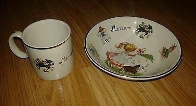 Arklow Pottery Ireland Iron Stone Mary Mary Quite Contrary Bowl & Mug Miriam