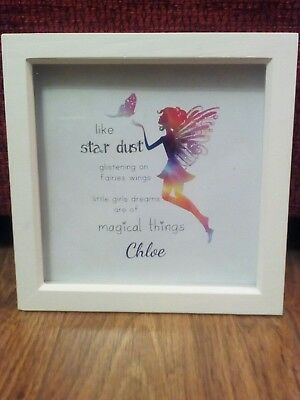 Personalised fairy princess colour rainbow box frame picture print glitter love
