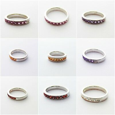 Garnet Band 925 Sterling Silver Natural Studded Gemstones Band Rings Gift R3.1