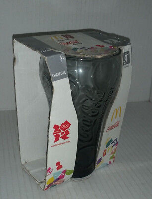 COKE COCA COLA LONDON OLYMPICS 2012 CHARCOAL GLASS NEW IN McDonalds PACKAGING