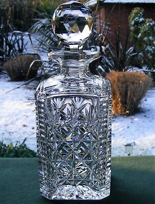 "Stuart Crystal ""westbury"" Pattern Square Whisky Decanter + Stopper"