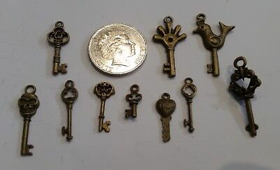 10 different small keys copper craft charms