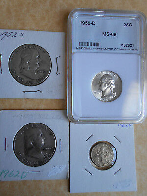 USA Silver Coins 1952s and 1962d Half Dollars and 1958d 25c In MS68 plus Dime.