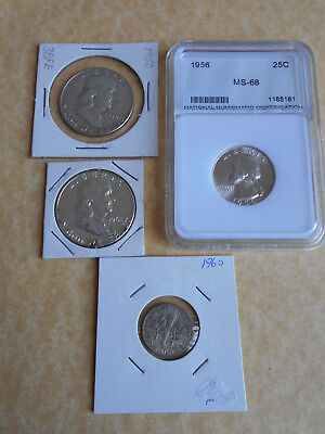 USA Silver Coins 1950 and 1960 Half Dollars and 1956 25c In MS-68 also 1960 Dime