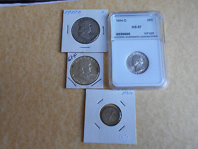 USA Silver Coins 1953d and 1961 Half Dollars 1954d Quarter Dollar in MS-67 +Dime