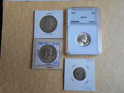 USA Silver Coins 1950 +1961d Half Dollars 1948 25C In MS-67 Grade plus1954s Dime