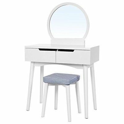 Small Mirrored Dressing Table Set With Stool Drawers White Wooden Vanity Makeup