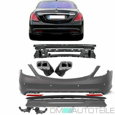 Mercedes W222 Sport Rear Bumper +BLACK Edition +Exhaust Pipes for S63 AMG 13-18