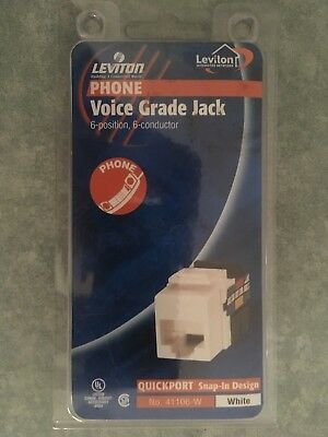 NEW Leviton Voice Grade QuickPort Snap-In Phone Jack R07-41106-W - White