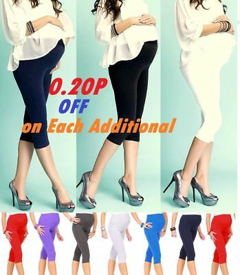 Ladies Womens Cropped Very Comfortable Maternity Leggings 3/4 Length *3/4mtrlg