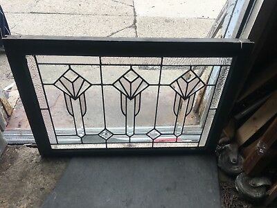 Rare And Exceptional Heavy Beveled Extreme Art Deco Style Floral Window.