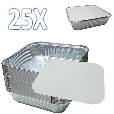"25X 9""x9""x2"" LARGE ALUMINIUM FOIL FOOD CONTAINERS With LIDS UKDC"