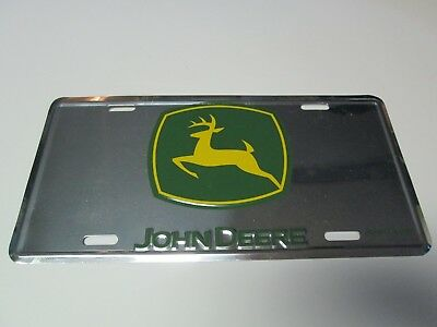 John Deere Metal License Plate Chrome Finish Green Yellow Advertising
