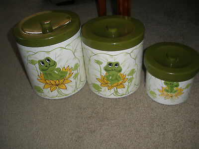 Vintage Sears Roebuck & Co. 1977 3 piece Neil the Frog Canister Set