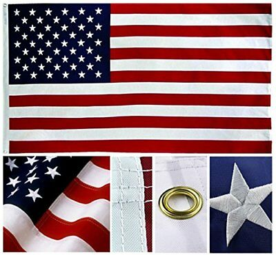 American US Flag Heavy Duty 3x5 ft Embroidered Stars Sewn Stripes Grommets Nylon