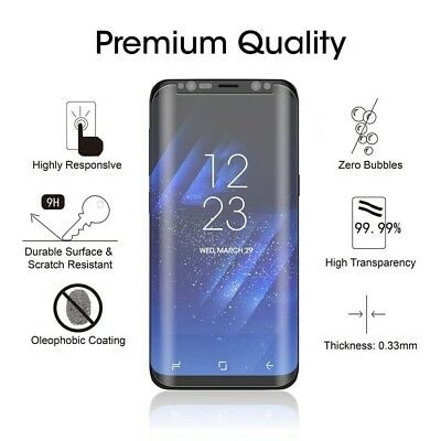 2 X Samsung Galaxy S8 5D Full Curved Tempered Glass LCD Screen Protector Clear