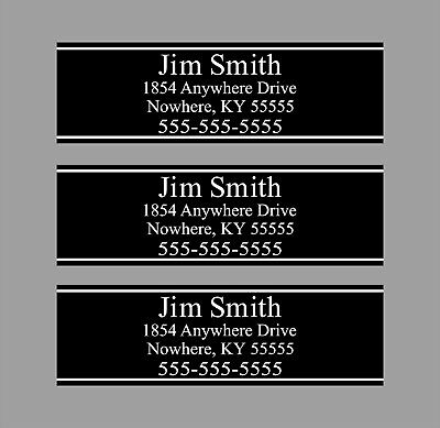 Custom Black Club Shaft Labels With Your Name, Address & Phone Number