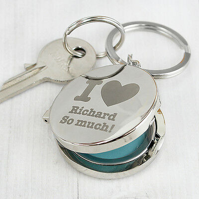 Personalised I Heart Photo Keyring Keepsake Key Ring Custom Chain Family Gift